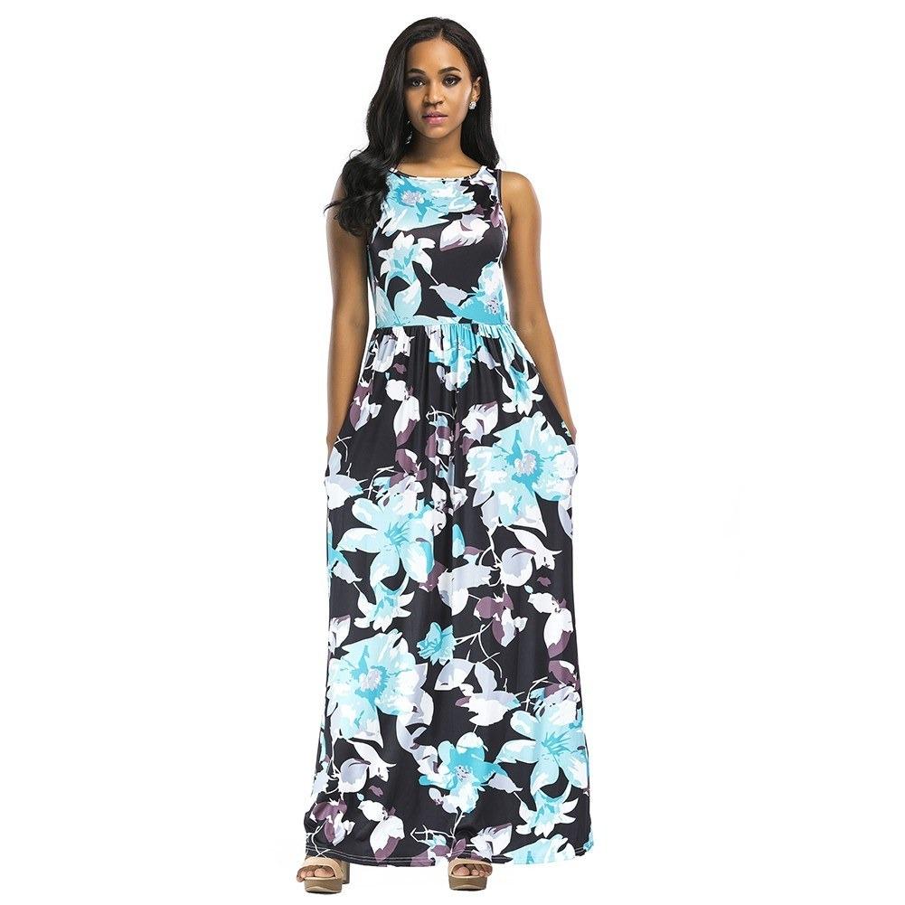 a2997549af55 Mujeres Verano Largo Maxi Vestido Floral Impresión Sin Mang