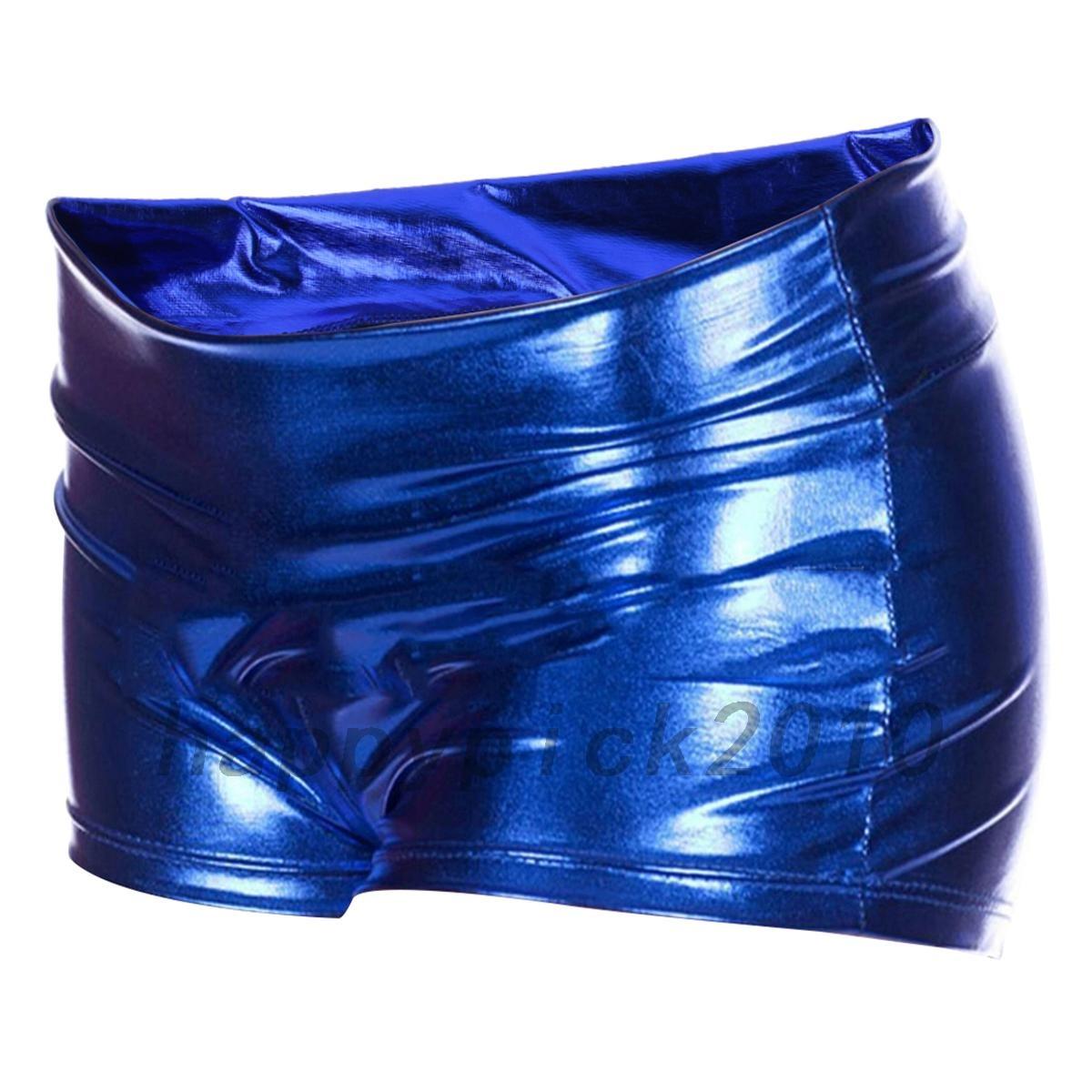 Leggings Pantalones cortos señoras Rojo Azul Metálico Traje Brillante Look discoteca Wet look de fiesta
