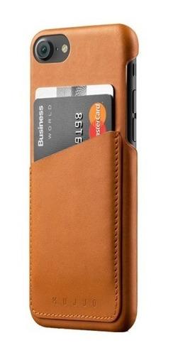 mujjo funda/cartera de cuero iphone 7 color castaño