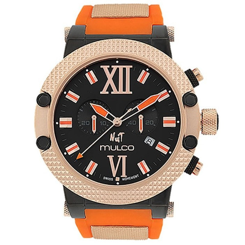 mulco nuit black dial orange silicone ladies_ao2