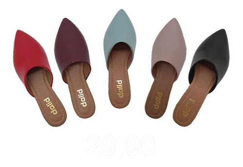 mule feminino rasteirinha sandália chinelo bico fino moda