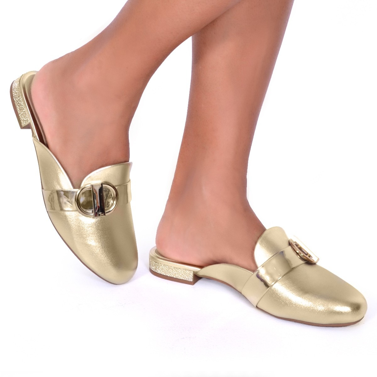9fac724327 mule modare sapato dourado metalizado conforto ref 7503.101. Carregando zoom.  Mocassim Feminino Mule Metalizado Vizzano 1248109