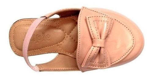 mule sapatilha infantil bebe rose verniz com tope de enfeite e elástico na tira traseira mulezinho para bebe nude rose