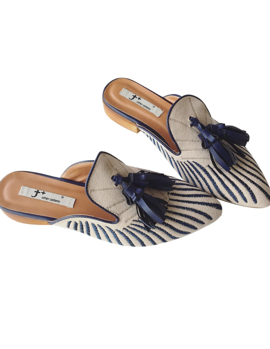 newest e618d 58814 Madera Bordados Mules Zapatos Borlas Sueco 061 41 4 99 Mujer off 1UXwUd