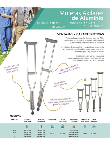 muletas de aluminio importadas equipadas varias medidas
