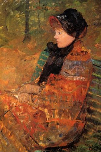 mulher parque lendo livro reproducao de mary cassatt na tela