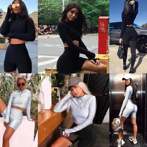mulheres cropped top calças curtas conjunto esporte gola lon