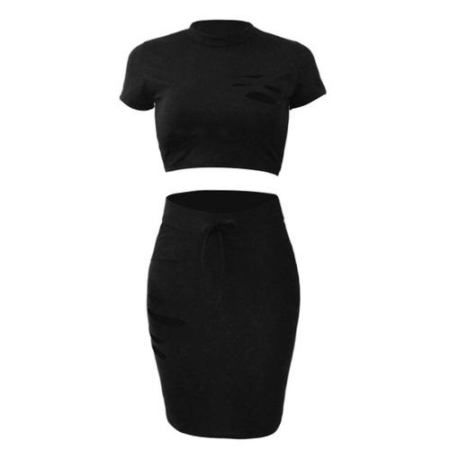 mulheres cropped top skirt set afligido furos de cintura