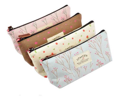 mulheres flor estampado floral lona saco cosmético estampa