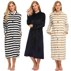 a762c4655790e0 Mulheres Inverno Espesso Robe Longo Manga Listrado Longo Vel
