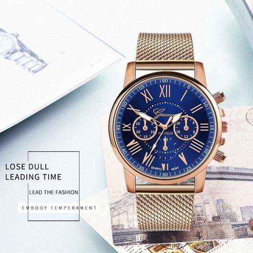 mulheres moda relógio de quartzo casual metal presente