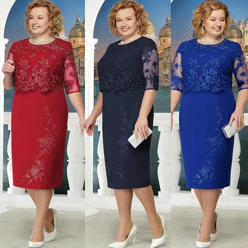 mulheres renda vestido mais tamanho metade manga joelho cor