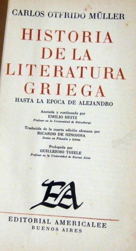 Muller Historia De La Literatura Griega 1948 Obra Completa - $ 900 ...