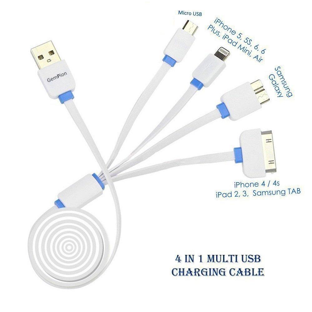 b046379e6ca Multi Cable De Carga, Gempion 3 Pies 4 En 1 Cargador Usb Con ...