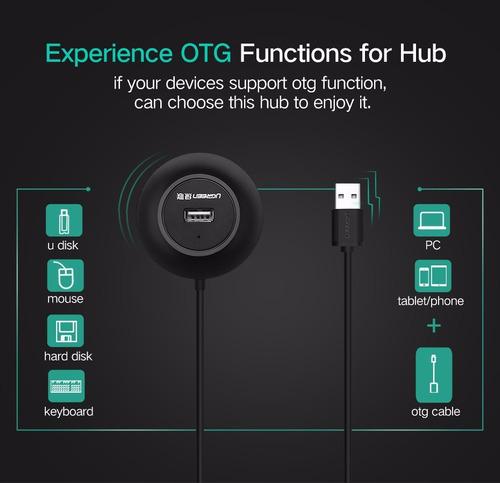 multi conector usb 2.0 hub.  4 puertos - 50 cm