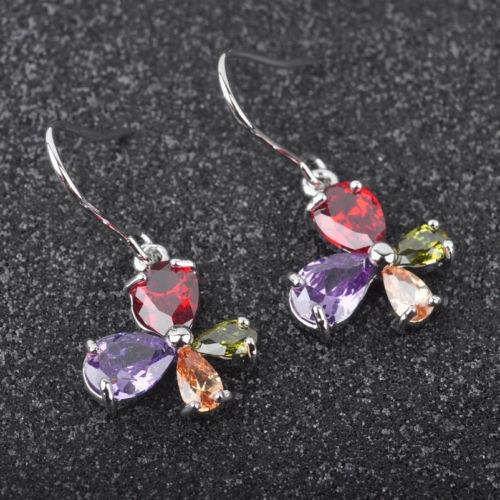 multicolor topacio joyas para mujer plata joyería gota pendi