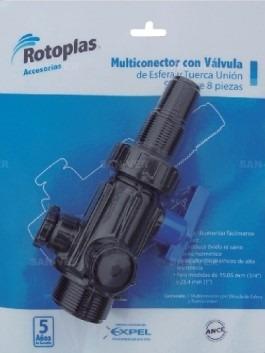 multiconector con válvula esfera y tuerca unión. rotoplas.