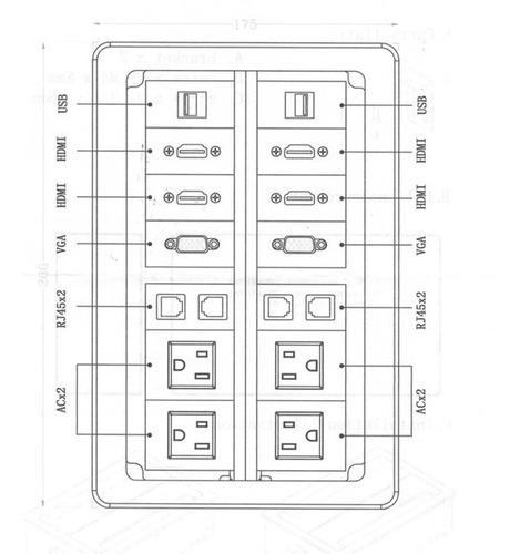 multicontacto grande para salas de junta junta color plata