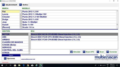 multiecuscan 4.0 software scanner automotriz fiat  elm327