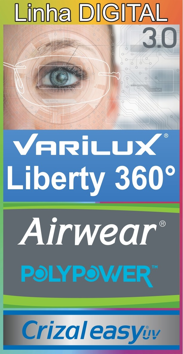 781ab30ac2 multifocal varilux liberty 360 (digital) airwear crizal easy. Carregando  zoom.