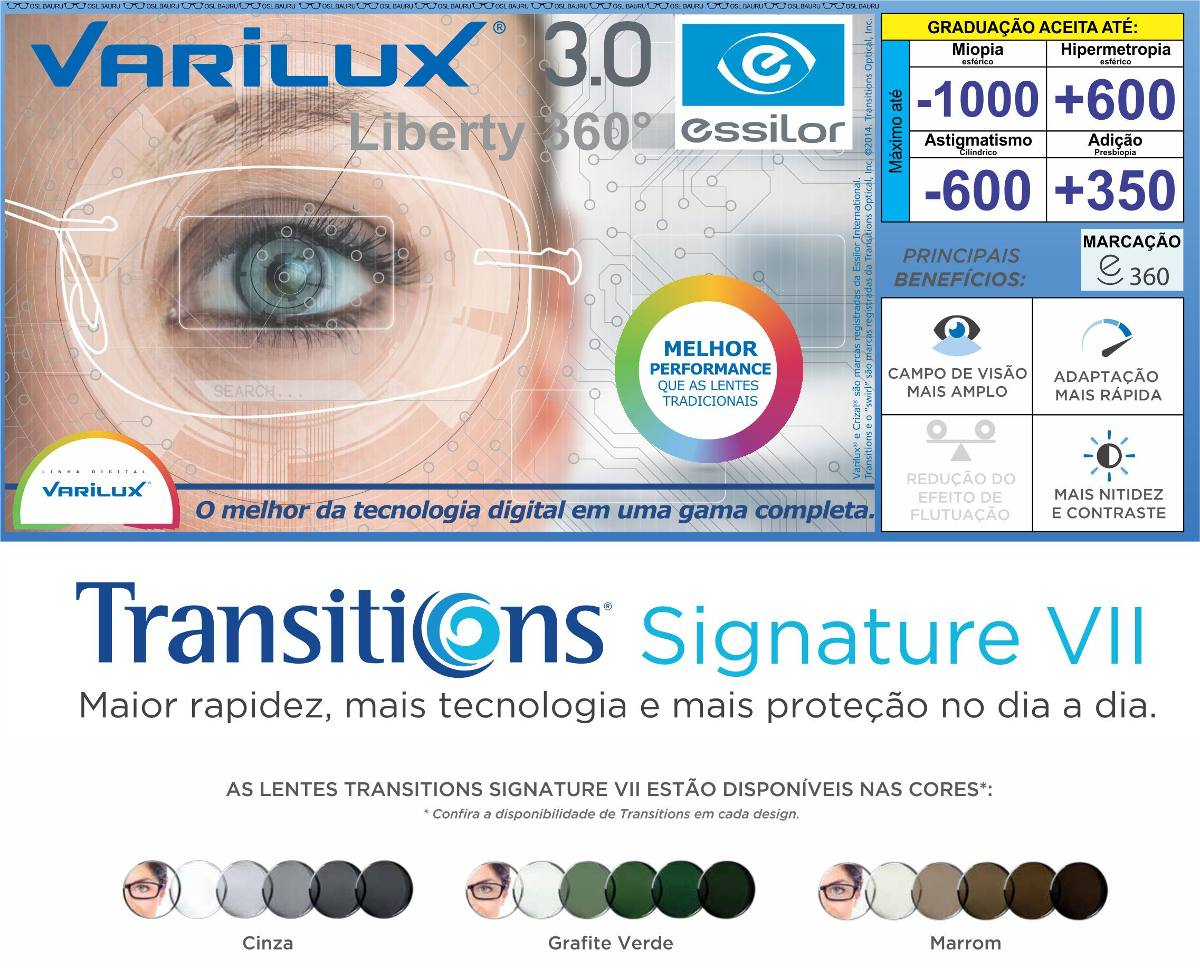 6e91543006822 multifocal varilux liberty 360 (digital) - transitions. Carregando zoom.