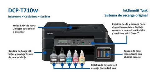 multifuncional brother t710 wifi sistema original wifi adf