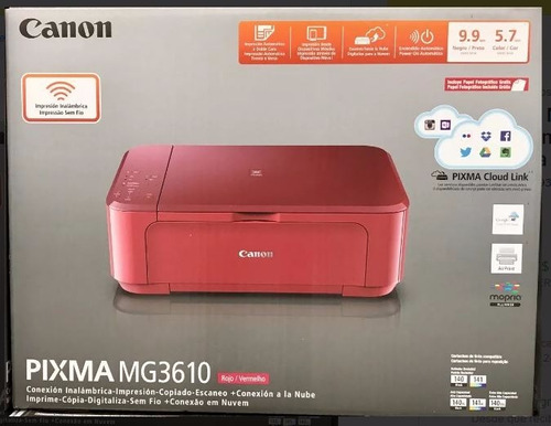Multifuncional Canon Pixma Mg3610 Roja Wifi Copia Escaner