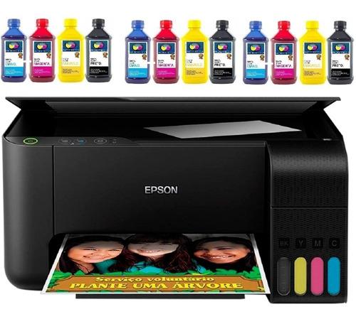 multifuncional epson ecotank l3110 + 12un tinta sublimatica