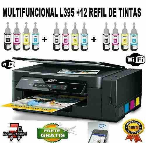 multifuncional epson l395  + 12 refil de tintas sublimatica