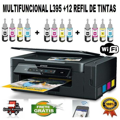 multifuncional epson l395 + 12 refill de tintas sublimatica