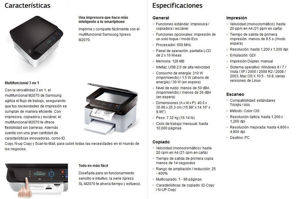Multifuncional Laser Samsung Sl M2070 Copiadora Toner
