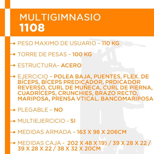 multigimnasio con 100kg pesas multigym lingotera reforzado
