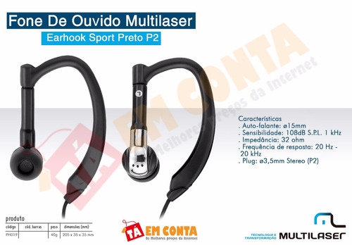 multilaser fone de ouvido earhook sport smartphones mp4 mp3