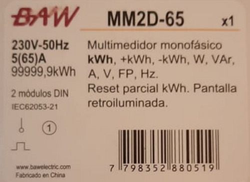 multimedidor monofásico energía mm2d-65 reseteable 220v