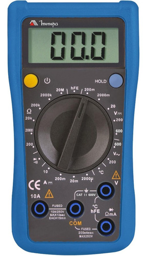 multímetro digital lcd 1/2 dígitos 2000 contagens minipa