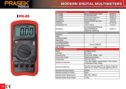 multimetro digital prasek premium pr-85
