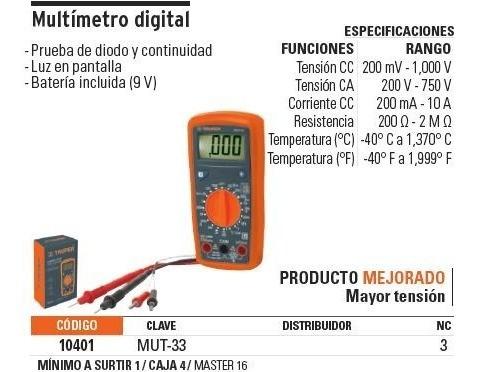 multimetro digital prof. 500 v truper 10401