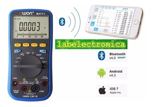 multímetro digital + temperatura y bluetooth android b41t+