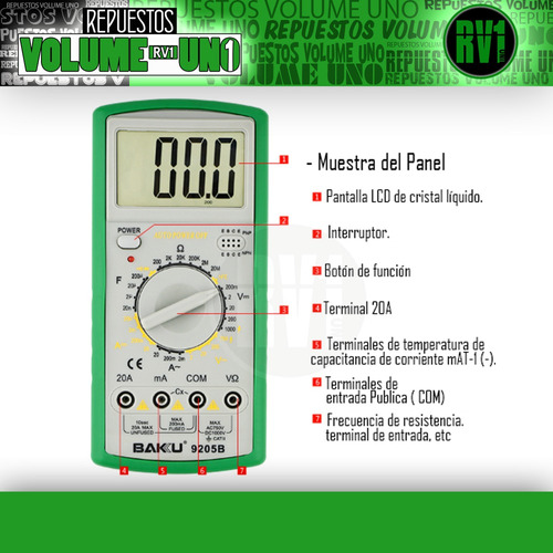 multimetro multitester digital  baku bk 9205b