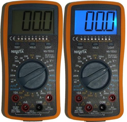 multimetro tester digital c/buzzer + cables red rj45