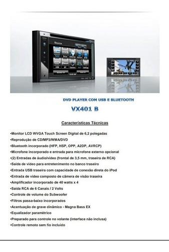 multimídia clarion dvd - vx401 b