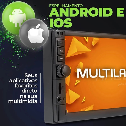 multimídia multilaser evolve gp345 2din bt usb espelha