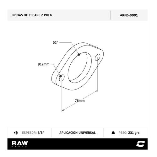 multiple de escape brida p/ caño 2  50mm fiat vw raw parts