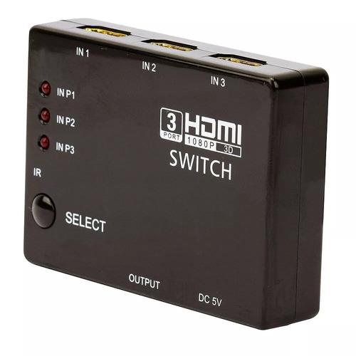 multiplicador entradas hdmi 3 portas em 1 na tv c/ controle