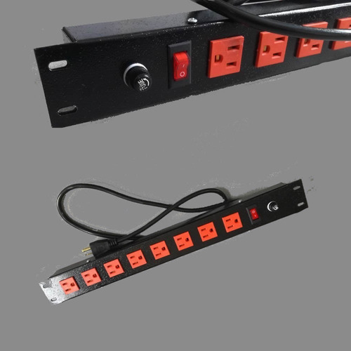 multitoma rack x 5 con switch y fusible