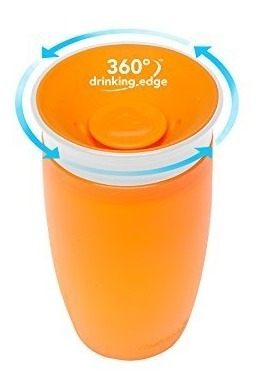 munchkin milagro 360 sippy, rosa / naranja, de 10 onzas, 2
