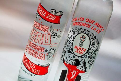 mundial rusia, botella de pisco de colección