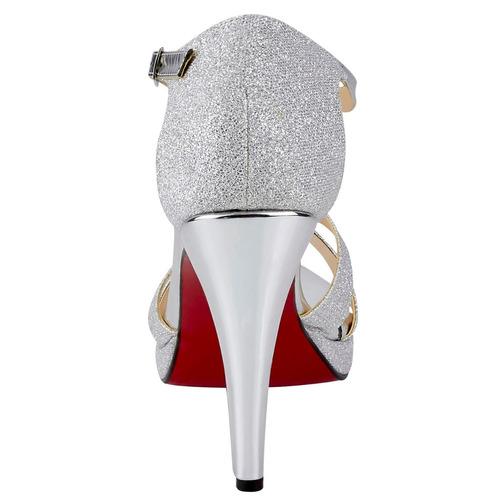 mundo terra zapatillas gris brillo plateado tacone 9938