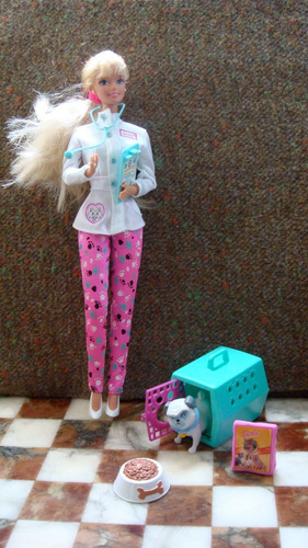 muñeca barbie + accesorios de veterinaria es la original !!!