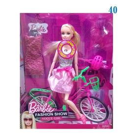 Muñeca Barbie Articulada 30cm Bicicleta Rollers  V Crespo